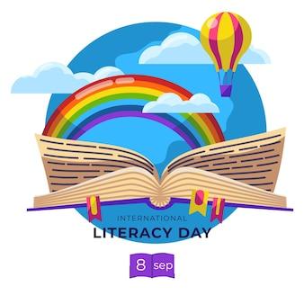 Concetto di giornata internazionale dell'alfabetizzazione design piatto