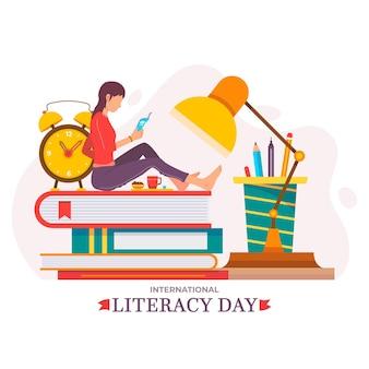 Flat design international literacy day theme
