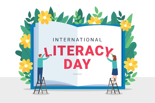 Flat design international literacy day