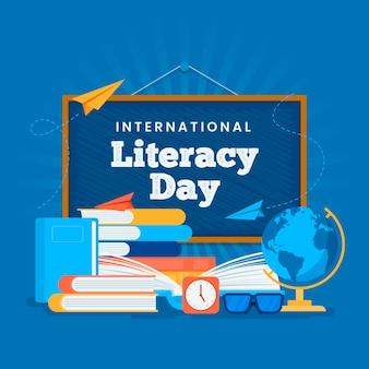 Flat design international literacy day