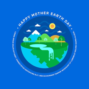 Flat design international mother earth day concept