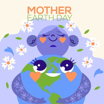 Flat design international mother earth day theme