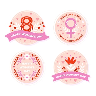 Flat design international women's day label collection