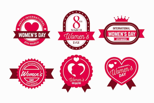 Flat design international women's day label pack