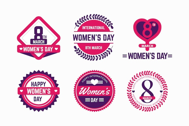 Flat design international women's day label set