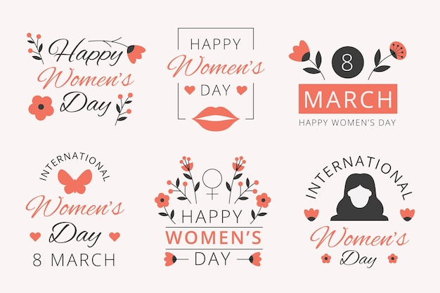 Flat design international women's day labels collection