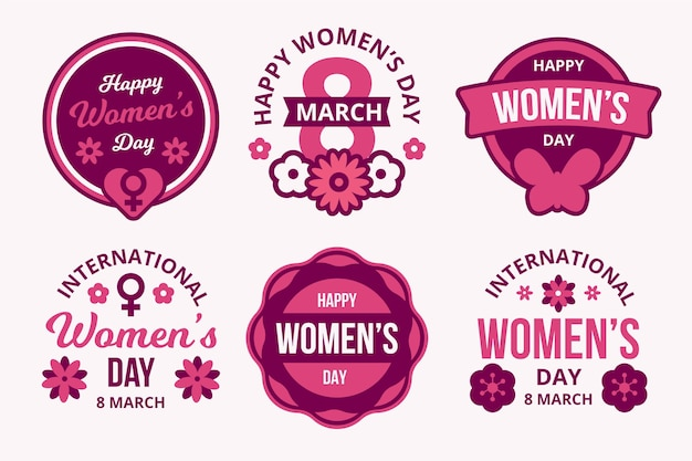 Набор наклеек международного женского дня в плоском дизайне