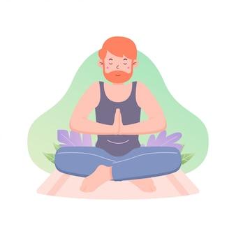 Плоский дизайн международный день йоги