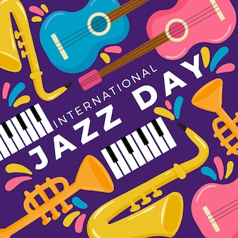 Design piatto internationl jazz day concept