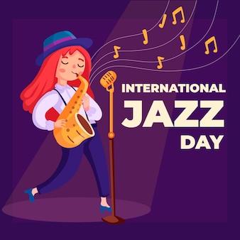 Evento internazionale di jazz dal design piatto