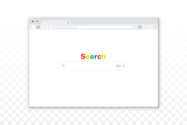 Flat design internet browser template on the transparent background. simple browser window. web template window screen mockup. interface web browser, internet empty page for web.