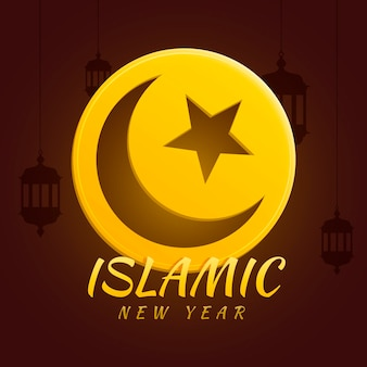 Flat design islamic new year style