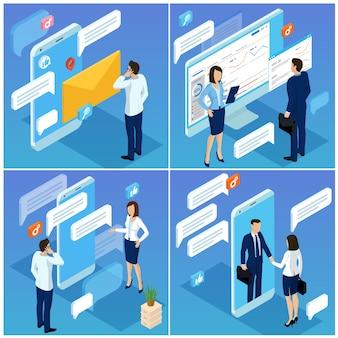 ビジネスモバイルネットワーク接続のためのフラットなデザインのアイソメトリックコンセプトメールマーケティングの人々がソーシャルネットワークのコメントをする若者と証言のコンセプトをチャット