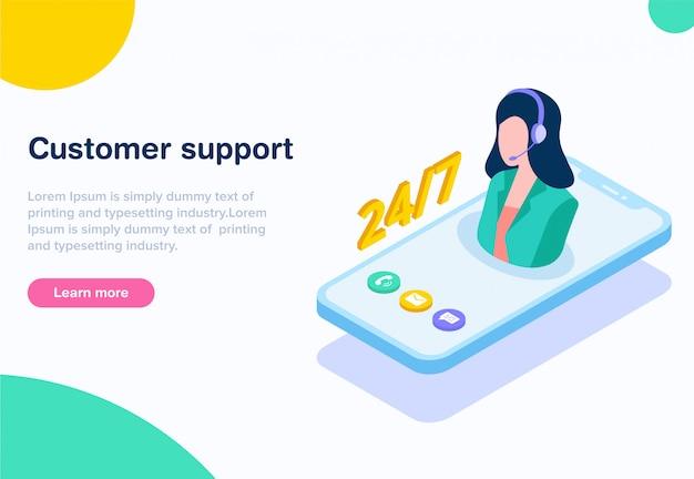 Flat design isometric customer support
