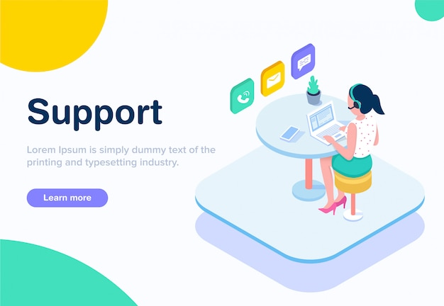 Flat design isometric customer support