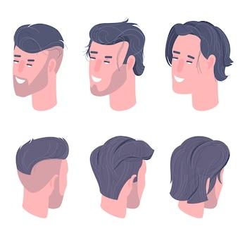 평면 디자인 아이소 메트릭 남자 캐릭터는 애니메이션 및 캐릭터 디자인을 위해 설정된 웃는 얼굴을이 끕니다.