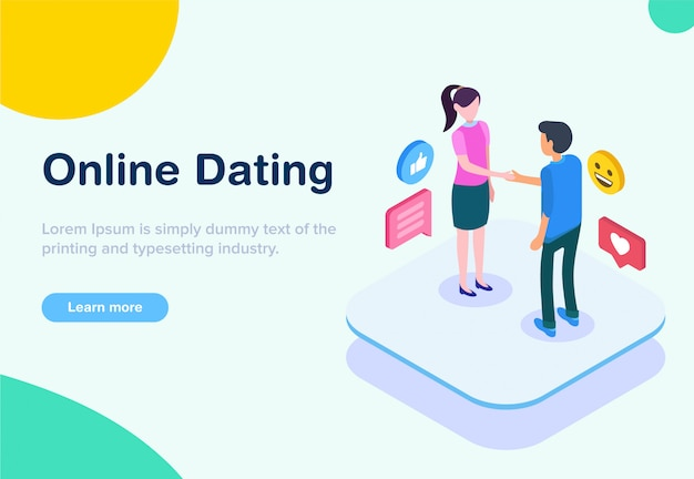 Flat design isometric online dating