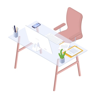 Flat design isometric workplace of modern office workspace