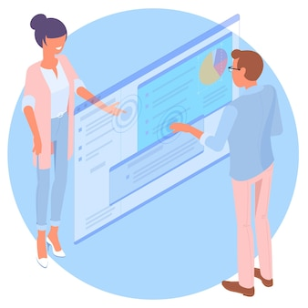 Flat design isometric  young man and woman are communication through web interface developers building and testing  mobile app customer suupport interface technology concept