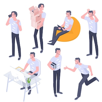 Flat design isometric young men characters poses, gestures and activityes set. office working, learning, walking, riding bike, bag chair sitting with gadgets, standing people characters.