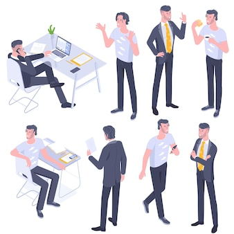 フラットなデザインの等尺性の若い男性キャラクターのポーズ、ジェスチャー、アクティビティセット。オフィスで働くこと、学ぶこと、歩くこと、コミュニケーションすること、昼食をとること、交差した手で立っている人々のキャラクター。
