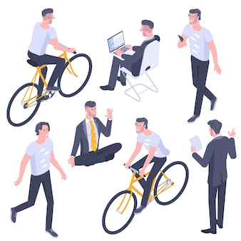 フラットなデザインの等尺性の若い男性キャラクターのポーズ、ジェスチャー、アクティビティセット。オフィスで働くこと、学ぶこと、歩くこと、コミュニケーションすること、自転車に乗ること、人々のキャラクターを瞑想するヨガ。