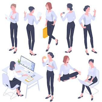 フラットなデザインの等尺性の若い女性のキャラクターのポーズ、ジェスチャー、アクティビティセット。オフィスで働くこと、学ぶこと、歩くこと、昼食をとること、買い物、ヨガの瞑想、立っている人々のキャラクター。