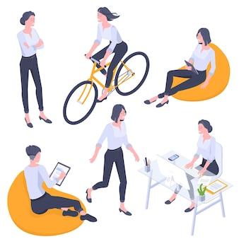 フラットなデザインの等尺性の若い女性のキャラクターのポーズ、ジェスチャー、アクティビティセット。オフィスでの作業、学習、ウォーキング、自転車に乗る、ガジェットと一緒に座っているバッグチェア、立っている人のキャラクター。