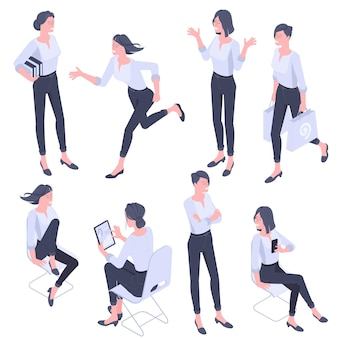 평면 디자인 아이소 메트릭 젊은 여성 캐릭터 포즈, 제스처 및 활동을 설정합니다. 사무실 작업, 학습, 걷기, 달리기, 의사 소통, 서있는 사람들 캐릭터.