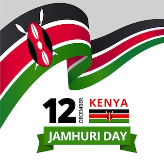 Flat design jamhuri day event with flag Free Vector