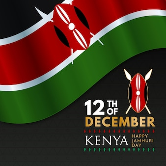 Flat design jamhuri day event with realistic flag