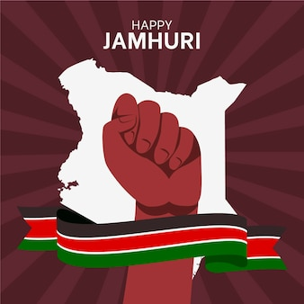 Flat design jamhuri day and fist