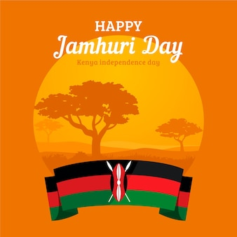 Flat design jamhuri day with trees