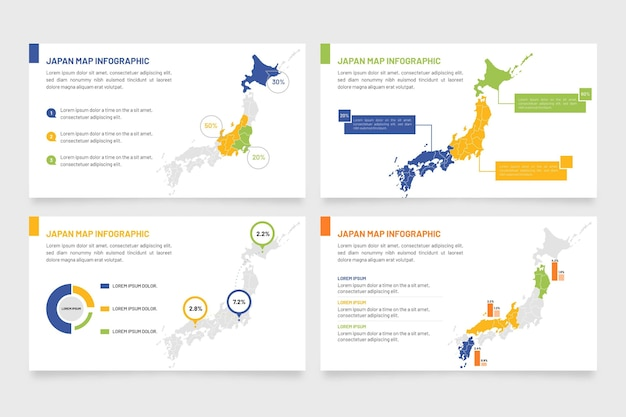 Flat design japan map infographic