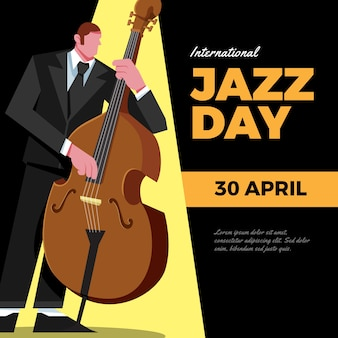 Плоский дизайн иллюстрация джазового дня