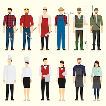 Flat design job character pack