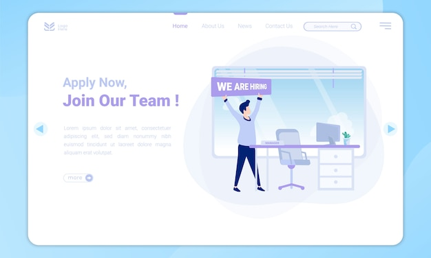Flat design to join team, manager vacancies on landing page