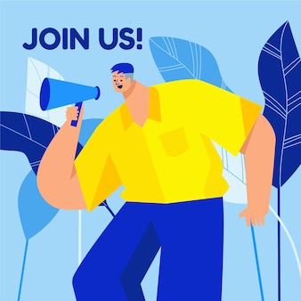 Flat design join us concept