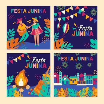 Flat design june festival card collection