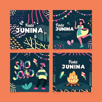 Flat design june festival cards