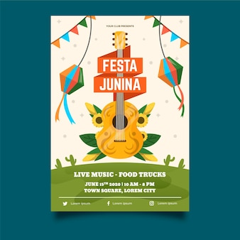 Flat design june festival poster template