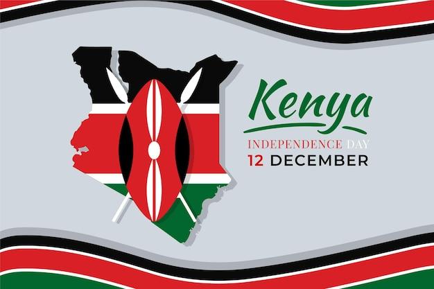 旗のあるフラットなデザインのケニアの日