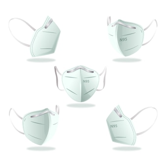 Flat design kn95 face mask in different perspectives set