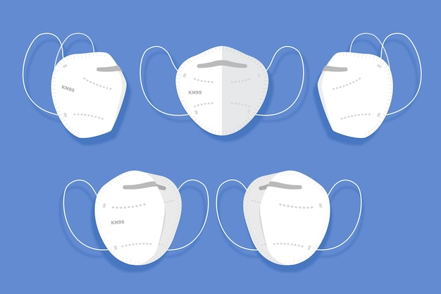 Maschera facciale kn95 dal design piatto in diverse prospettive