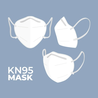 Flat design kn95 medical mask in different angles