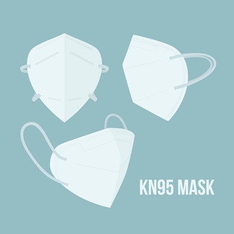 Flat design kn95 medical mask in different perspectives