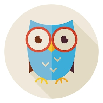 長い影とフラットデザイン知識鳥フクロウサークルアイコン。学校と教育のベクトル図に戻ります。フラットスタイルの賢いカラフルなフクロウの鳥のオブジェクト