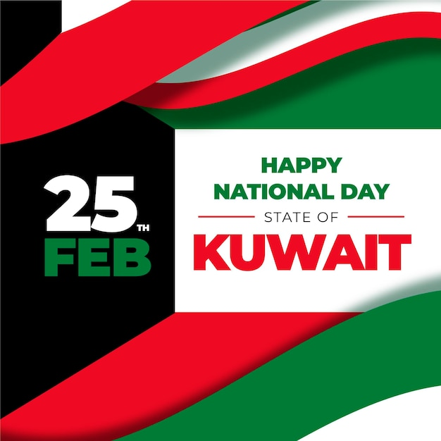 Flat design kuwait national day 25 february