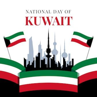 フラットデザインのクウェート建国記念日と都市