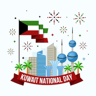Flat design kuwait national day buildings and fireworks